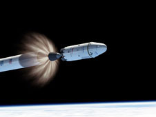 Artist concept of a Falcon 9 rocket in space