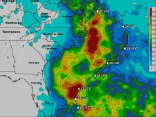 This TRMM rainfall analysis indicates that the heaviest rainfall totals were over the open waters of the Atlantic Ocean.