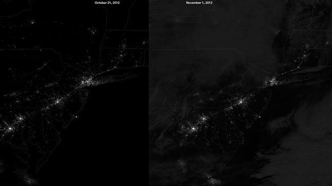 NPP image of the blackouts caused by Hurricane Sandy
