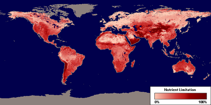 Global map displaying nutrient limitation