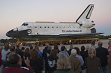 Space shuttle Atlantis with employees