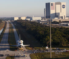 Space shuttle Atlantis on road