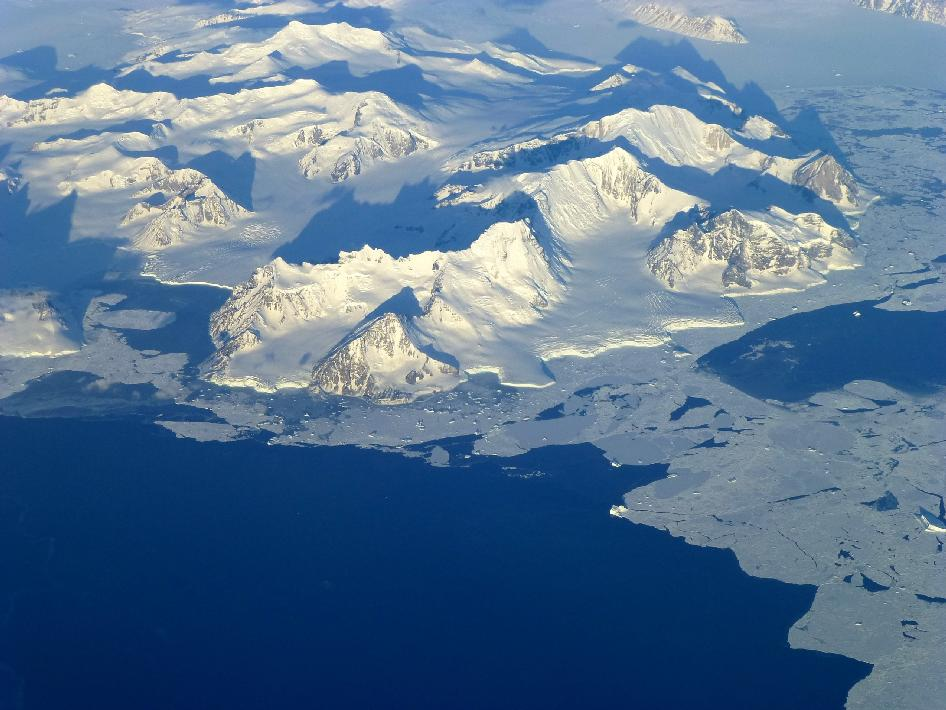 View of the northern Antarctic Peninsula from high altitude during IceBridge's flight back from the Foundation Ice Stream.