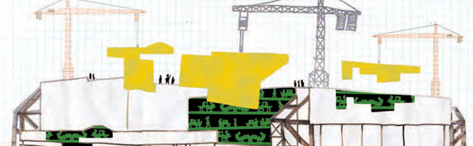 Illustration depicting construction on a stadium.