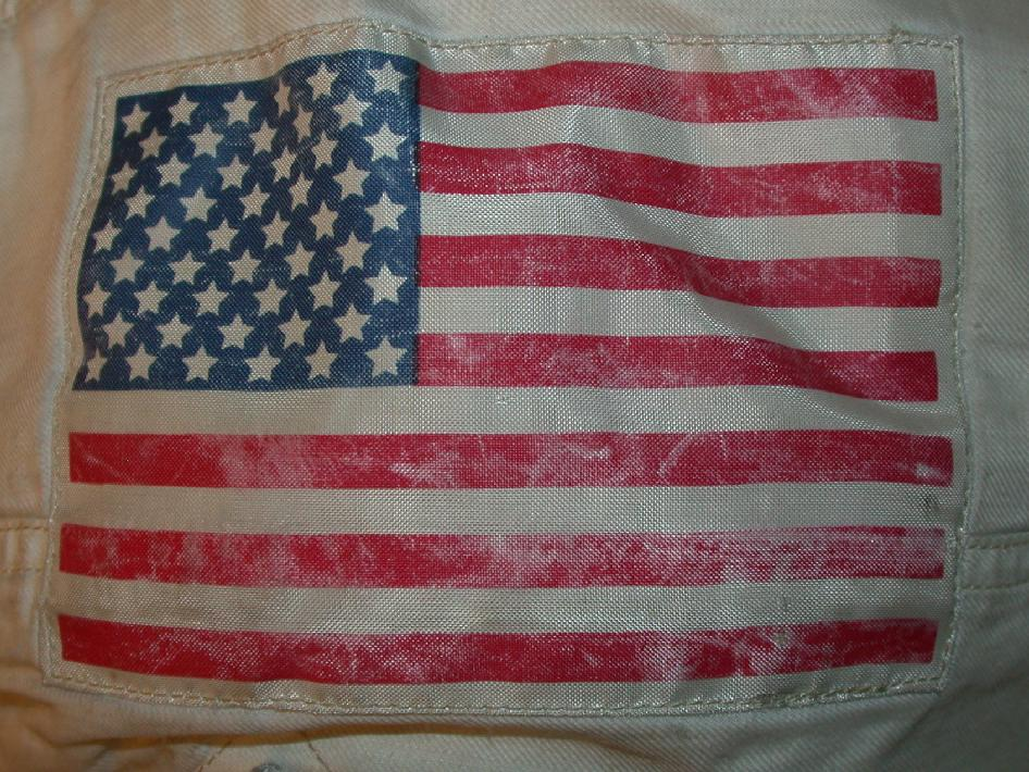 The American flag patch pictured here is from the left side of Neil Armstrong's Apollo 11 suit. This image was taken at the National Air and Space Museum's Garber Facility in Suitland, Md.