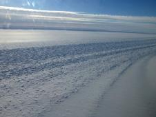 View of a glacier shear margin seen from the NASA DC-8 on the Nov. 1 survey of the Ronne Ice Shelf grounding line