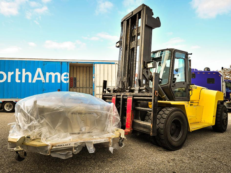 forklift with packaged Webb secondary mirror