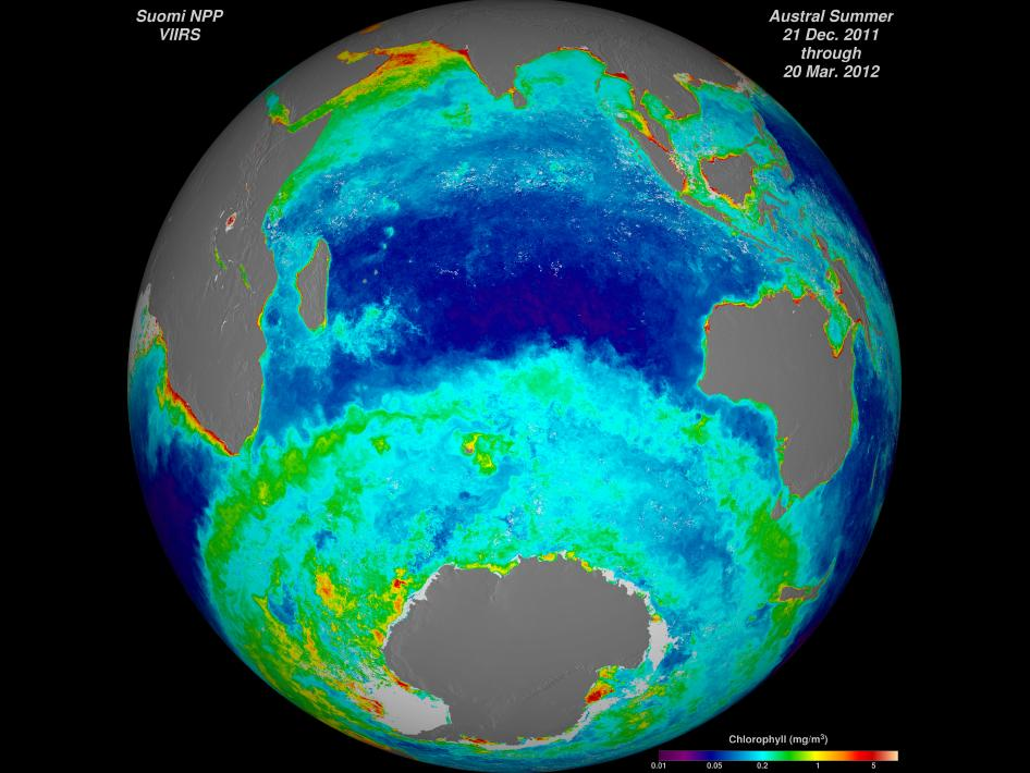 This image shows season-long composites of ocean chlorophyll concentrations derived from visible radiometric measurements made by the VIIRS instrument on Suomi NPP.