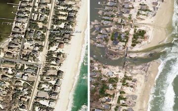 Before-and-after image of the New Jersey coastal town of Mantoloking, just north of where Hurricane Sandy made landfall shows the damages caused by Hurricane Sandy.