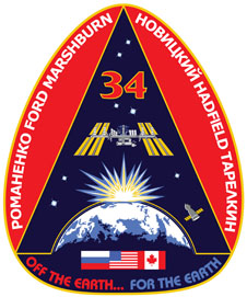 An egg-shaped mission patch featuring the Soyuz spacecraft and space station orbiting Earth during sunrise. The crew's names are around the edges. Flags of Russia, the U.S. and Japan are near the bottom, above the words Off the Earth… For the Earth