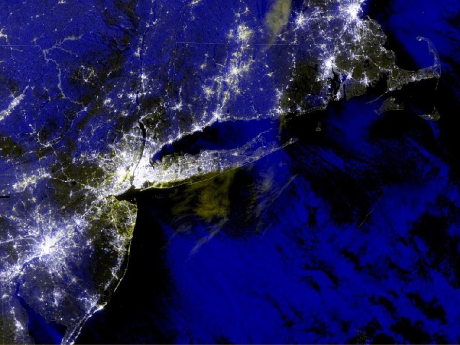 VIIRS blackout RGB composite for Hurricane Sandy