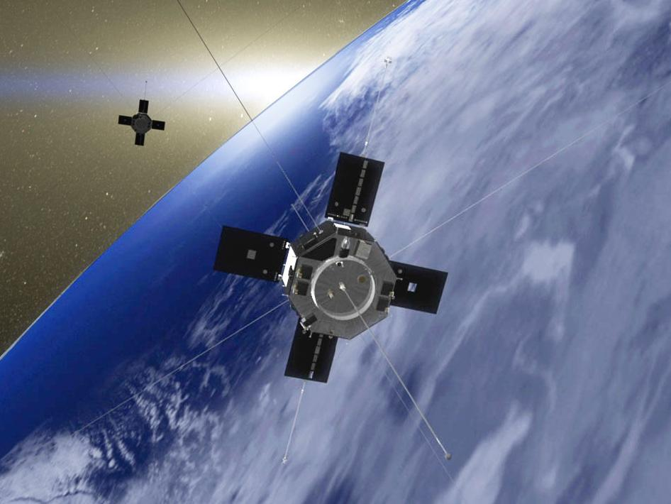 Artist's rendition of the Van Allen Probes in orbit around Earth.