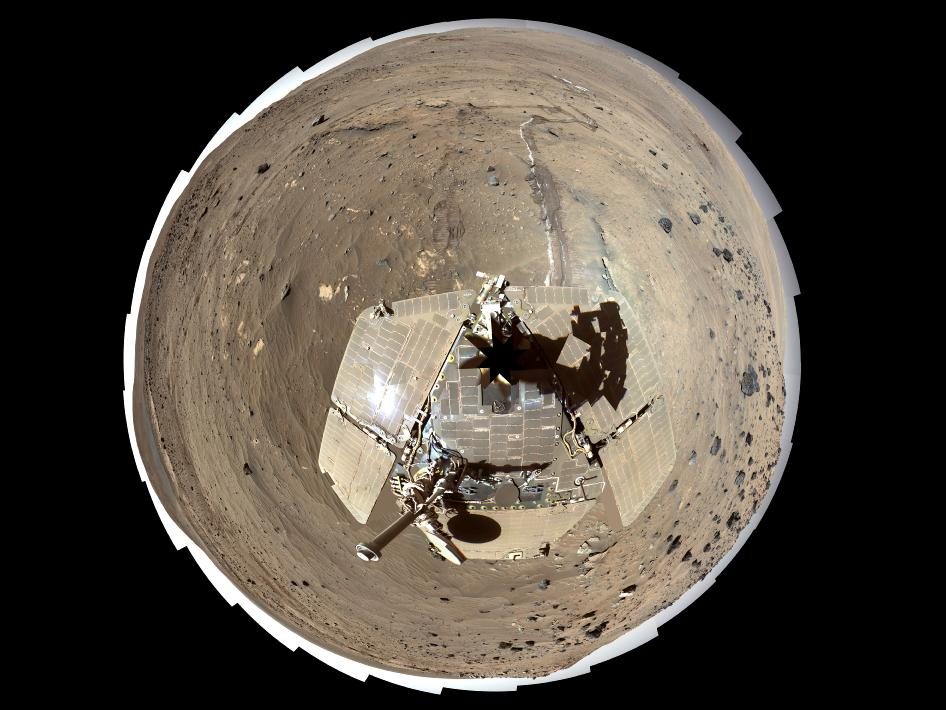 This self-portrait of NASA's Mars Exploration Rover Spirit is a polar projection of the 360-degree 'McMurdo' panorama made from images taken by Spirit's panoramic camera (Pancam).