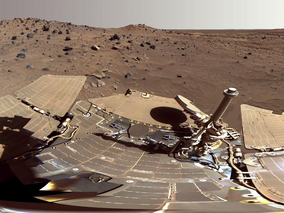 This 360-degree scene, called the 'McMurdo' panorama, comes from the panoramic camera (Pancam) on NASA's Mars Exploration Rover Spirit.