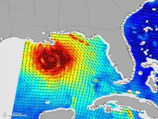 Hurricane Katrina�s winds was made from data acquired on August 28, 2005, by NASA�s retired QuickSCAT satellite.