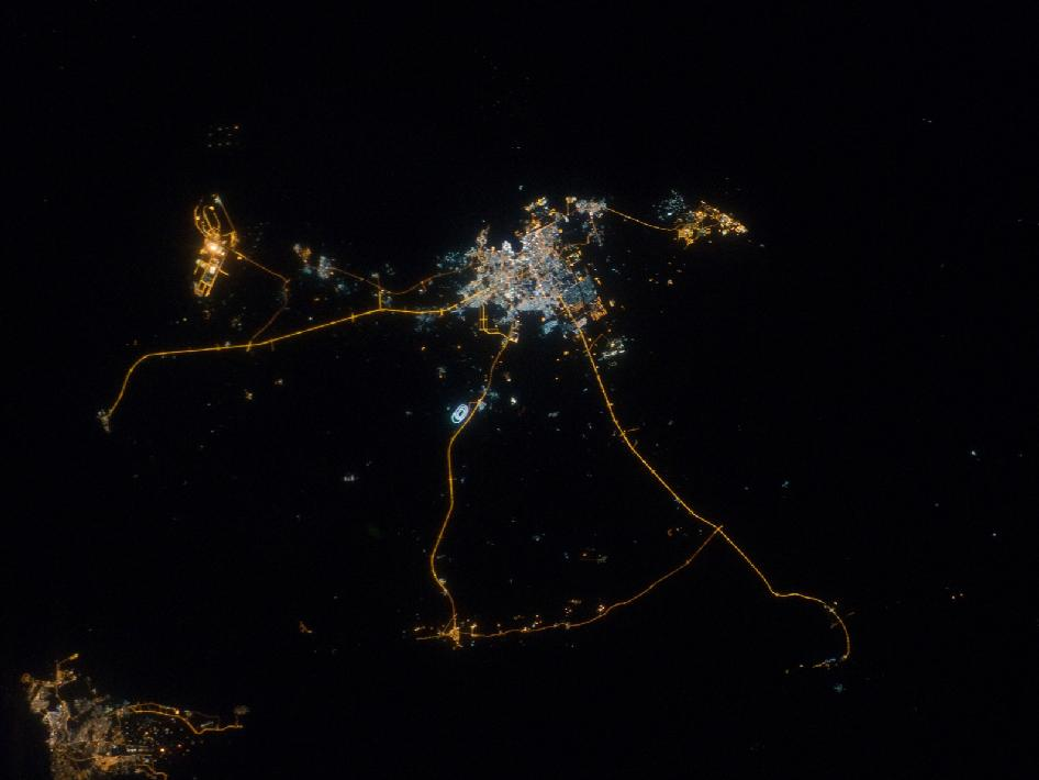 A nighttime view of Qatar