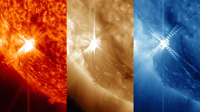 These three ultraviolet light images of a solar flare on Nov. 13, 2012, show from left to right: light in the 304 Ångstrom wavelength; in the 193 Ångstrom and in 335 Ångstroms.