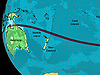 Projected path of the Nov. 13, 2012 total solar eclipse.