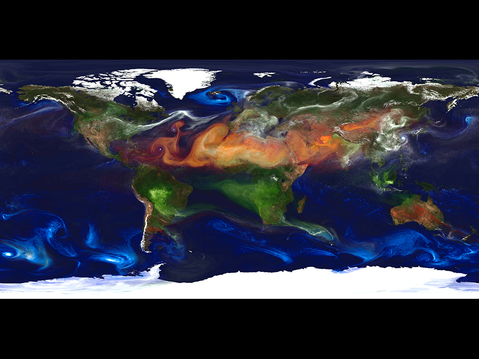 A portrait of global aerosols from a 10-kilometer Goddard Earth Observing System Model, Version 5 (GEOS-5) simulation.