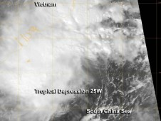 NASA's Aqua satellite passed over newborn Tropical Depression 25W on Nov. 14 at 0638 UTC (1:38 a.m. EDT)