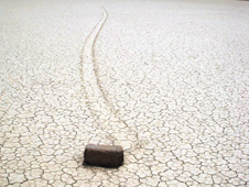 The rocks on Racetrack Playa in Death Valley, Calif., move across the flat, dry bed of this ancient lake.