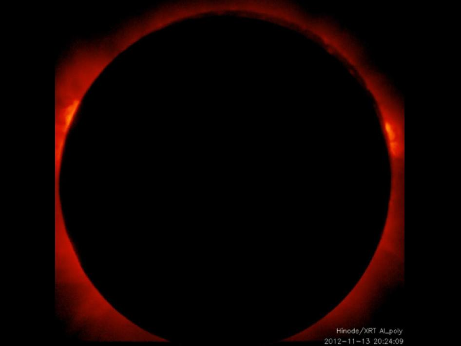 Still from video of full total eclipse on Nov. 13, 2012 as seen by the Hinode spacecraft.