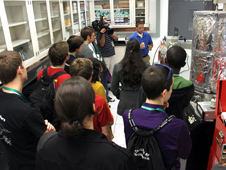 Research scientist Michael Johansen describes dust mitigation technology to Society of Physics students