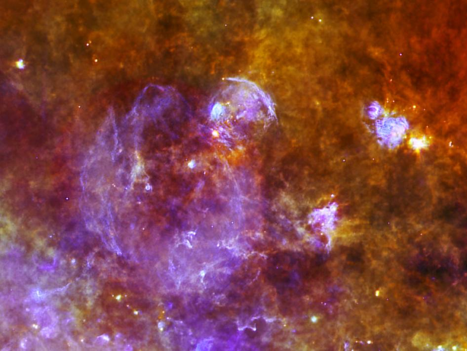 Three-color infrared view of the supernova remnant W44
