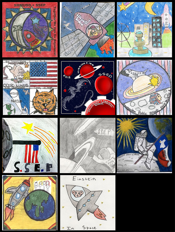Eleven colorful patches designed by students about their experiments for the Student Spaceflight Experiments Program