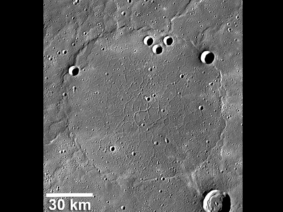 Image from Orbit of Mercury: Ridge and Trough System on Mercury
