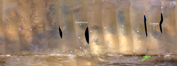 Location of Curiosity and Opportunity rovers on Mars
