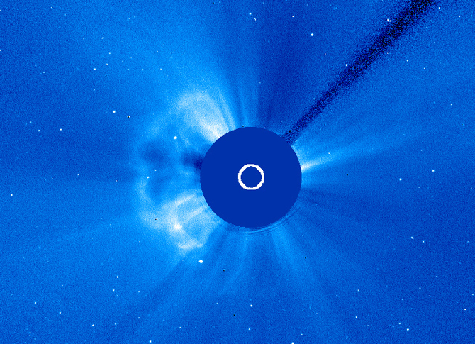 SOHO captured this image of a CME erupting on the left side of the sun, on Nov. 23, 2012, at 1:30 p.m. EST
