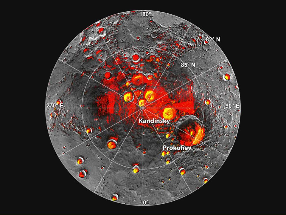 Permanently Shadowed Polar Craters  Shown in red are areas of Mercurys north polar region that are in shadow in all images acquired by MESSENGER to date. Image coverage, and mapping of shadows, is incomplete near the pole. The polar deposits imaged by Earth-based radar are in yellow (from Image 2.1), and the background image is the mosaic of MESSENGER images from Image 2.2. This comparison indicates that all of the polar deposits imaged by Earth-based radar are located in areas of persistent shadow as documented by MESSENGER images. Updated from N. L. Chabot et al., Journal of Geophysical Research, 117, doi: 10.1029/2012JE004172 (2012).