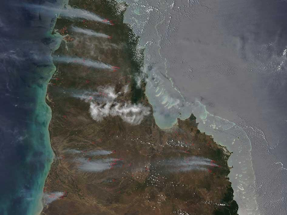 Fires in the Cape York Peninsula of Australia