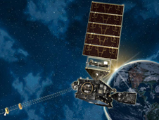 artist's concept of GOES-R in front of the earth, eclipsing the sun ... and space clouds