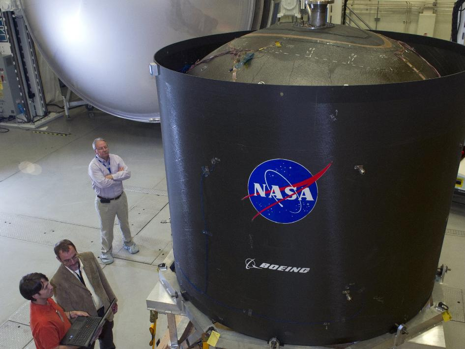 A composite propellant tank arrived on Nov. 20, 2012 at the NASA Marshall Space Flight Center in Huntsville, Ala.