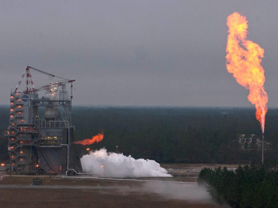 A J2X power pack assembly burns brightly during a hot fire test Nov. 27 at Stennis Space Center.
