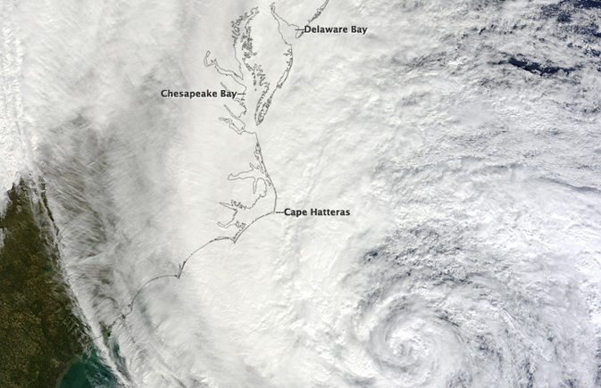 Hurricane Sandy as seen by the Moderate Resolution Imaging Spectroradiometer (MODIS) instrument