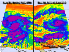 Infrared images of Tropical Storm Bopha taken by the AIRS instrument on NASA's Aqua satellite on Nov. 27 (left) and 28 (right), 2012.