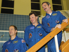 jsc2012e238543 -- Expedition 34 Flight Engineers Tom Marshburn, Romanenko and Chris Hadfield