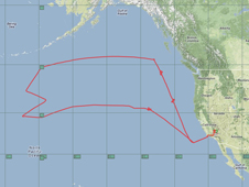 Global Hawk flight path map