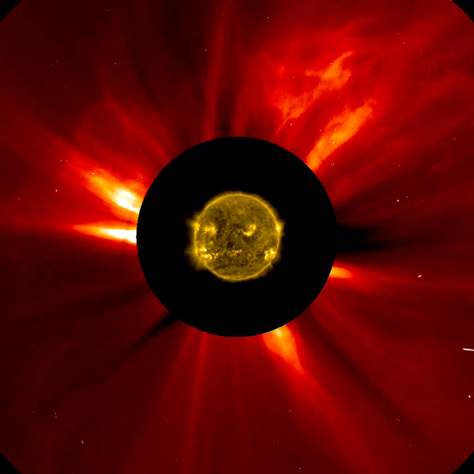 Nov. 16, 2012 combined image showing the sun's innermost atmosphere as seen by the SDO, inside a larger CME SOHO image.