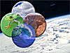 Four spheres representing the atmosphere, biosphere, hydrosphere, and litho/geosphere over a picture of Earth as seen from space