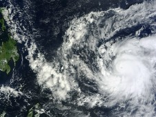 MODIS captured this visible image of Super Typhoon Bopha approaching the Philippines on Dec. 2, 2012