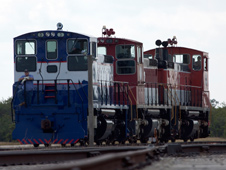 NASA's three locomotives approach the RPSF