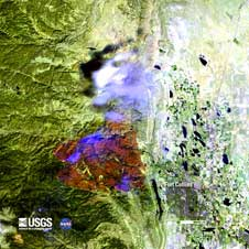 A Landsat 7 image of the 60,000 acres burned by the High Park wildfire just west of Fort Collins, CO as of June 18, 2012.