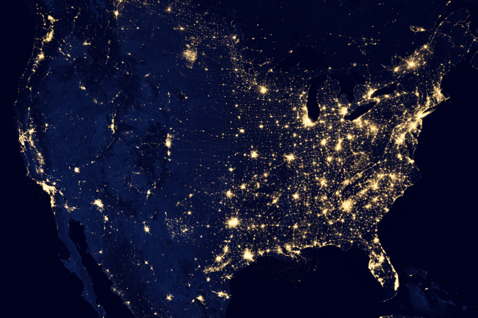 composite view of continental United States showing Suomi NPP observations of nighttime illumination
