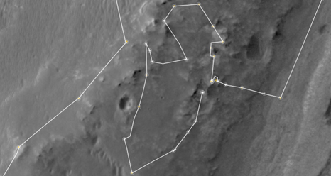 Opportunity's traverse map for sol 3135