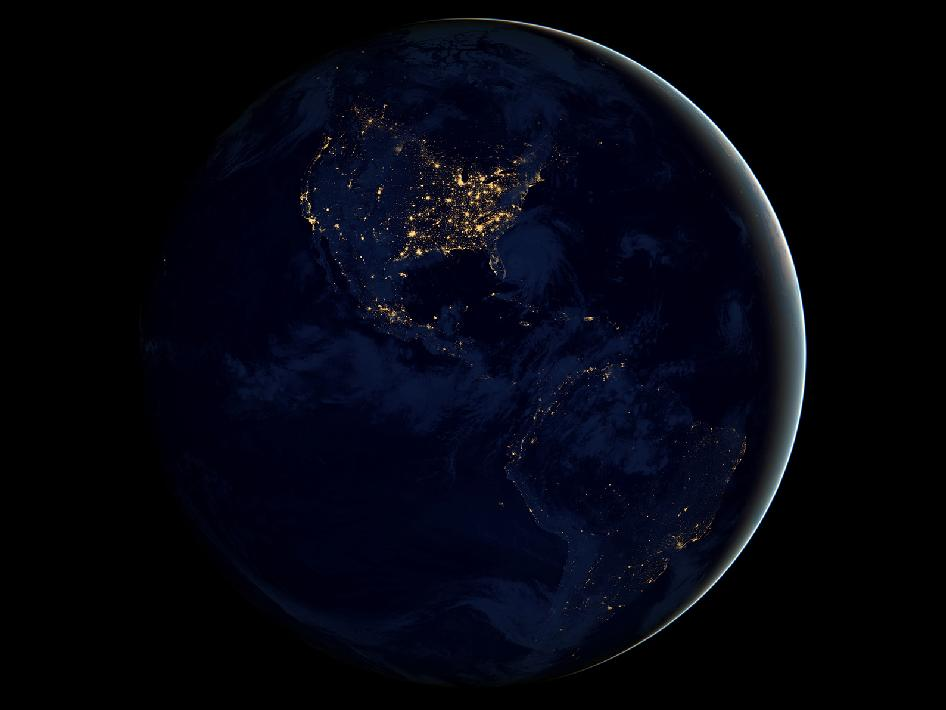Earth at Night  Image credit NASA Earth Observatory NOAA DOD