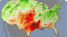 drought map showing deep red - dryness - over Texas and the southwest